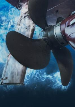 Underwater view of a propeller