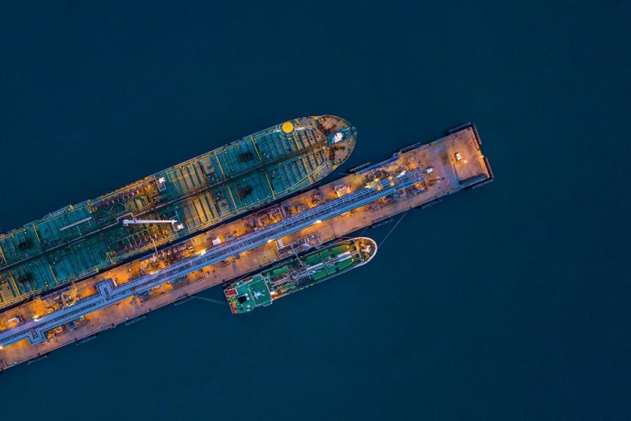Sky view of a tanker